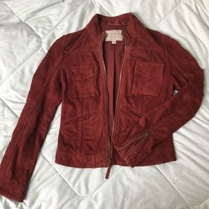 Lucky Brand Vintage Red Soft Suede Zip Up Jacket
